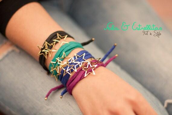 Stars and Silk Bracelet. Stars Bracelet. Delicate Star Bracelet. Silk Jewelry. Silk Bracelet. Dainty Stars Bracelet. Dainty Bracelet