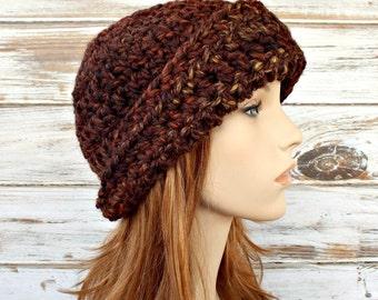 Crochet Hat Womens Hat 1920s Flapper Hat - Garbo Cloche Hat in Sequoia Brown Cloche Crochet Hat - Brown Hat Womens Accessories Winter Hat