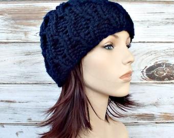 Knit Hat Navy Blue Womens Hat - Amsterdam Beanie in Navy Blue Knit Hat - Navy Blue Hat Navy Blue Beanie Womens Accessories Winter Hat