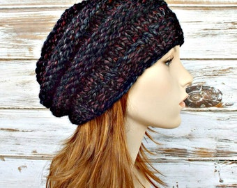 Knit Hat Womens Hat Slouchy Beanie - Original Beehive Beret in Blackstone Black Burgundy Charcoal Grey Knit Hat - Womens Accessories