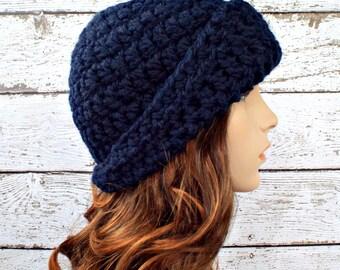 Crochet Hat Womens Hat 1920s Flapper Hat - Garbo Cloche Hat in Navy Blue Crochet Hat - Blue Cloche Blue Hat Womens Accessories Winter Hat