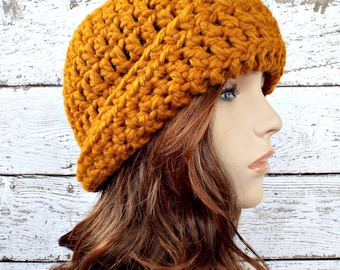 Crochet Hat Womens Hat 1920s Flapper Hat - Garbo Cloche Hat in Mustard Yellow Crochet Hat - Yellow Hat Womens Accessories Winter Hat