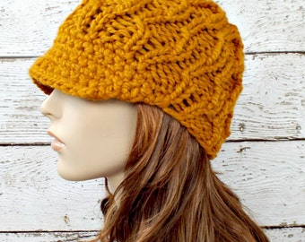 Mustard Newsboy Hat Chunky Knit Hat Womens Hat - Amsterdam Cable Beanie Yellow Newsboy Hat Mustard Hat Womens Accessories - READY TO SHIP