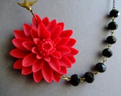 Statement Necklace,Flower Necklace,Red Flower Necklace,Red Necklace,Black Necklace,Bib Necklace,Bridesmaid Jewelry Set,Bridesmaid Gift,Gift