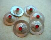 Turkoman Buttons Vintage Silver Red Inlay lot of six 6 Kuchi Belly Dance style HALF DOZEN