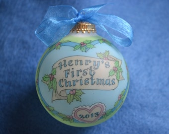 BABY BOY'S FIRST Christmas Personalized Ornament, Timeless and Original,  Handpainted  and Personalized Keepsake Ornament