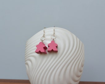 Pink mini Carcassonne meeple earrings with silver earwire