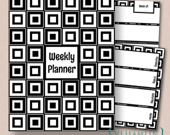 Printable Weekly Planner Set - Schedule Organizer - Printable Planner - Cover Included - Instant Download | Black & White Squares