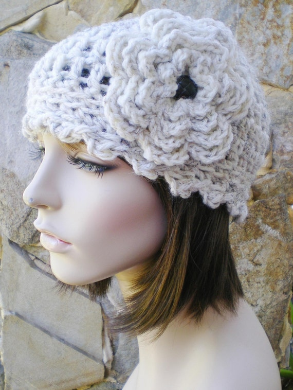 hand crochet cloche hat ~ studio cloche ~  wheat with leather like button - made to order