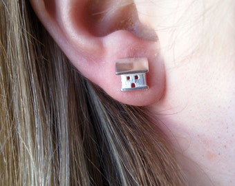 Sterling Silver Stud Earrings.  Tiny Cottage Post Earrings