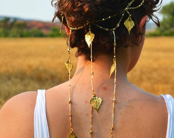 Golden Leaves Bridal Headpiece- hair chain 24 karat gold plated real leaves and Czech glass crystals halo crown