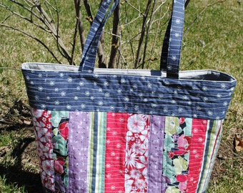 Patchwork Tote Bag PATTERN, Large Quilted Tote, Mary Elizabeth Bag