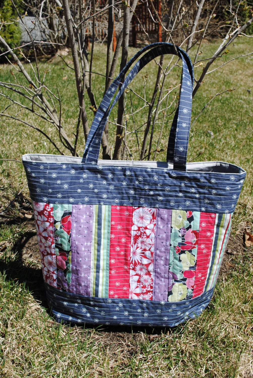 Patchwork Tote Bag PATTERN Large Quilted Tote Mary Elizabeth