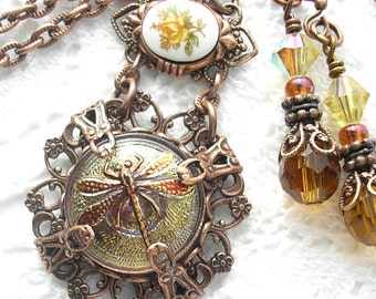 Czech Glass Dragonfly Button Pendant in Antiqued Copper