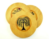 "3 Hand Painted Primitive Tree Wood and Cork Coasters. 3 3/4"" or 9.5 cm round."