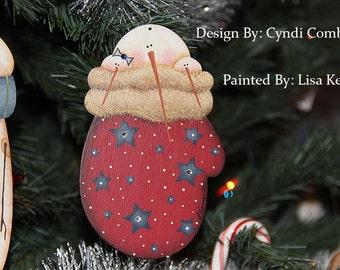 Snowman in Red Mitten Ornament Cyndi Combs design