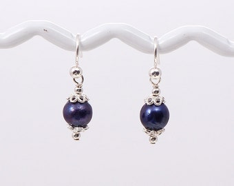 Tiny Freshwater Pearl Drop Sterling Silver Earrings
