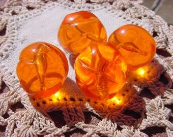 Orange Punch Glowing Swirls Vintage Lucite Beads