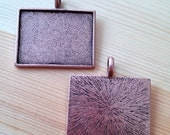 6 Copper Pendants Blank with Necklace