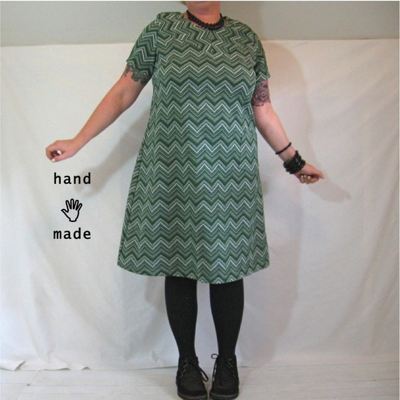 SALE - Copacetic Dress - plus size, size 20/22, xxl - scooter, a-line dress - handmade in green chevron vintage fabric -- 48B-44W-50H
