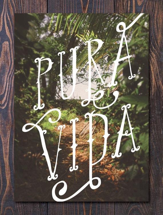 Pura Vida Art Print Costa Rica Inspired Jungle art