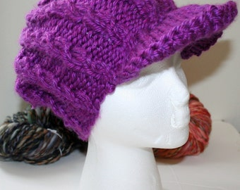Custom Cabled Brimmed Newsboy Hat