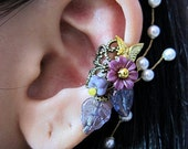 Purple Antique Gold Filigree Wrap Around Flowers Ear Cuff II Woodland Gold Wings Free Elegant Feminine Bling Nature