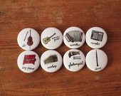 Musical Instruments of Portland 1 inch Button Pin Set of 8