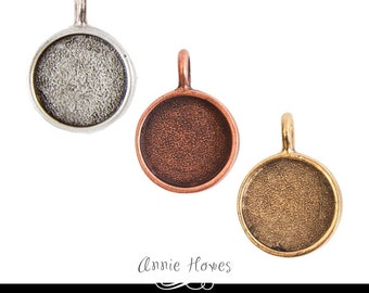 5 PACK - 17mm Small Circle Bezel Pendant Setting. Silver, Copper, or Gold Plated.