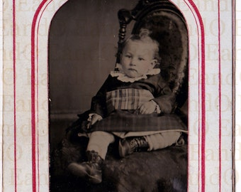 Lovely Antique Tintype Portrait of a Toddler in Original Paper Mat/Frame Late 1800s Early 1900s 1/6th Sixth Plate