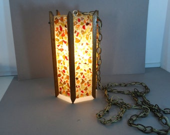 Mid Century Modern Hanging Swag Light Lucite Rock Chunk Lamp Fall colors