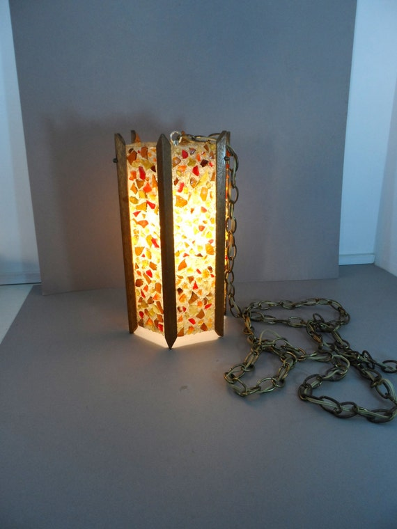 Mid Century Modern Hanging Swag Light Lucite Rock Chunk Lamp