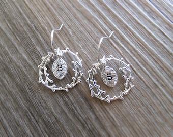 Twig and Leaf Jewelry Earrings - Personalized Custom Letters - Sterling Silver Earrings