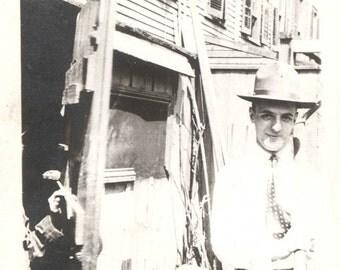 vintage photo Snapshot photo Young Man at Back of Row house Brooklyn NY