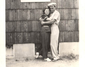 vintage photo Lovers Hug by the House lovey dovey romantic valentine couple