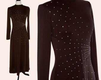 Vintage 70s Maxi Dress / Brown Rhinestone Dress / 70s Formal Dress
