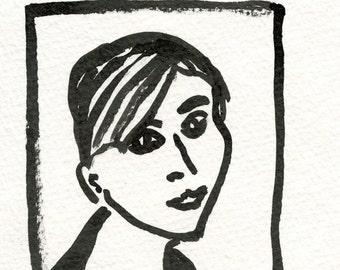 Ink drawing on paper  Avatar series / JOELLE //  postcard  archival ink  ooak