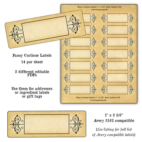 Avery 5162 Template: Antique Blank Curly Decoration Labels Digital Collage By