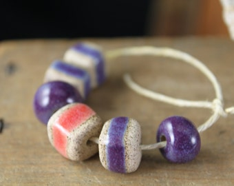 Handmade stoneware ceramic beads Purple and Pink (6)