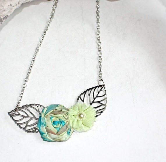Silver Leaf Necklace Rosette Necklace Handmade Upcycled Batiks and Chiffon Lime & Aqua Unique Design