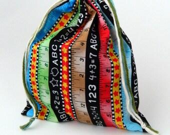 Elementary School Drawstring Bag, numbers, letters, rulers drawstring bag, children crayons storage bag, reusable snacks bag