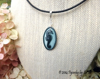 Seahorses : Under The Sea Series Acid Etched Emu Eggshell Pendant Necklace Pysanky By So Jeo