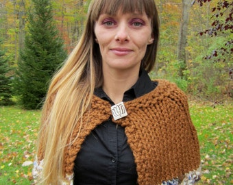 Cyber Monday SALE. Knit Capelet Hazelnut Brown. Blue. Gold. Handmade knitwear. Gifts for her. Ready to ship. Wrap. Shawl.