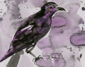 Crow Raven Sketch No. 3 - Original abstract watercolor bird painting By Kathy Morton Stanion EBSQ