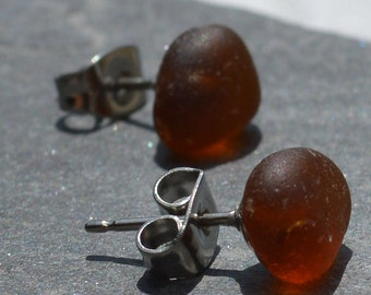 ROOTBEER CANDIES- Sea Glass POST Earrings