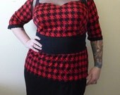 Black and Red Houndstooth Top Retro Plus Size