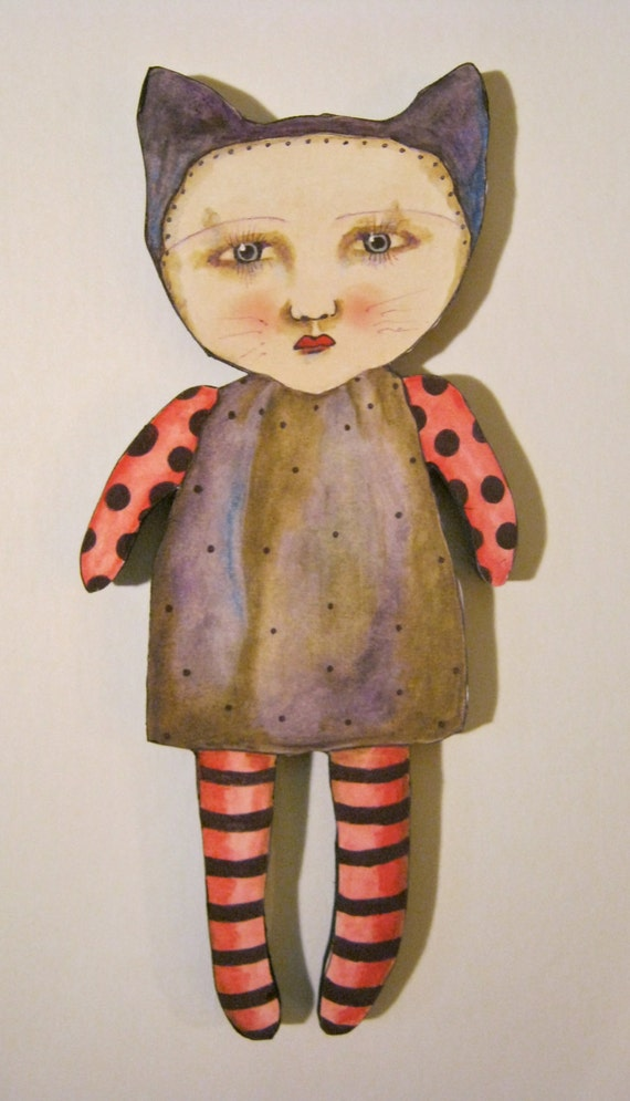 art doll cat girl, cut out wood, wall art, illustration on wood, wall hanging,nursery art,