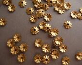 50 Brass Fluted Small Ridge 5mm Bead Caps