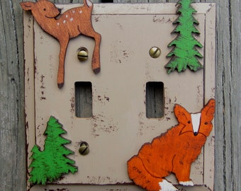 WOODLAND FOREST Kids Switch Plate Cover - Hand Painted Wood - Any Size Rocker/Toggle