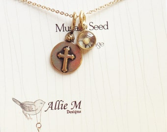 Mustard Seed Charm and Cross Pendant, Religious Jewelry - Faith Necklace, Custom Gold Charm, Mothers Day gift, Graduation gift